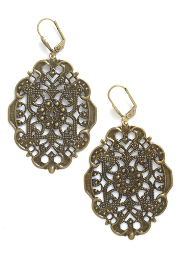 Ornamental Elegance Earrings by Sweet Evie - Gold, French / Victorian