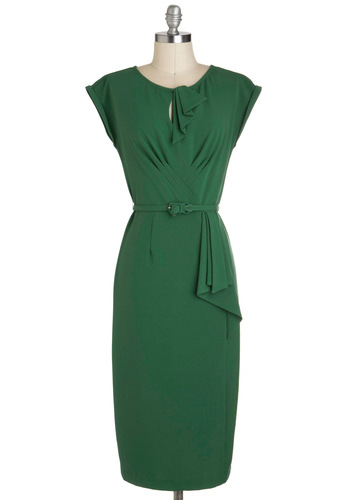 Once and For All Dress by Stop Staring! - Green, Solid, Belted, Work, Shift, Cap Sleeves, Long, Pinup, Cocktail, 50s, 60s, Holiday Party, Party, Crew