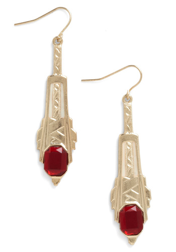 High Rise and Shine Earrings - Red, Gold, Film Noir, Party, Statement