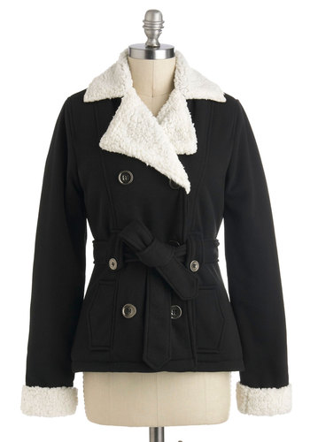 Good Nightfall Jacket - Black, White, Solid, Buttons, Pockets, Casual, Long Sleeve, Belted, Mid-length, 3, Tis the Season Sale