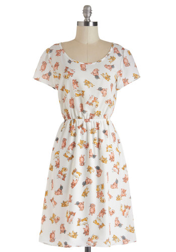 Kitten Play Dress - White, Print with Animals, Casual, A-line, Short Sleeves, Sheer, Long, Multi, Tis the Season Sale, Variation, Scoop