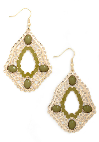 Moss Have Been Love Earrings - Green, Gold, Beads, Boho