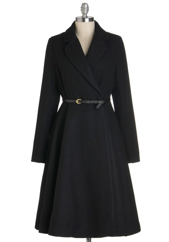 Sleek and Sable Coat - Black, Solid, Long Sleeve, Winter, Fit & Flare, Long, 4, Belted