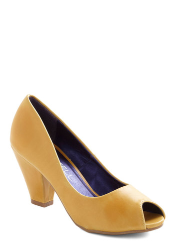Mango Salsa Heel - Yellow, Solid, Mid, Peep Toe, Faux Leather, Work, Spring
