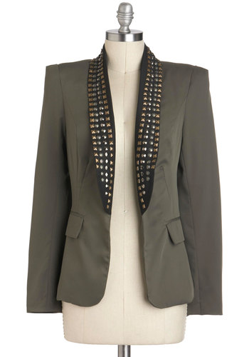Riveting Rendition Blazer - Green, Studs, Military, Long Sleeve, Mid-length, 1, Fall