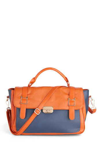 Haute to Handle Bag - Tan, Blue, Solid, Faux Leather, Colorblocking, Scholastic/Collegiate