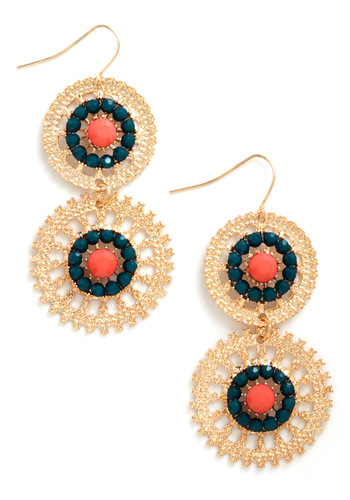 Wheel of Fortunate Earrings - Gold, Orange, Green, Rhinestones, Statement