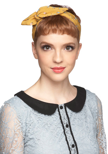 Through the Wire Headband in Flower Buds - Yellow, Multi, Polka Dots, Bows, Casual, Vintage Inspired, Floral, Press Placement, Beach/Resort, Pastel, Travel