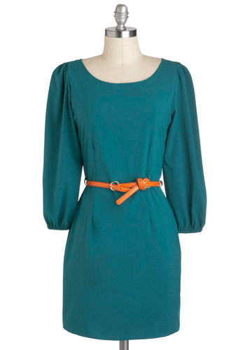 Teal Me a Tale Dress - Solid, Sheath / Shift, 3/4 Sleeve, Belted, Short, Green, Party, Work