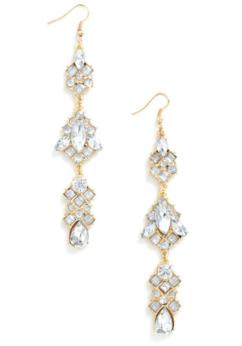 Party Like It's 1919 Earrings - White, Gold, Rhinestones, Luxe, Statement, Fairytale, Special Occasion, Prom, Holiday Party, Vintage Inspired, 20s