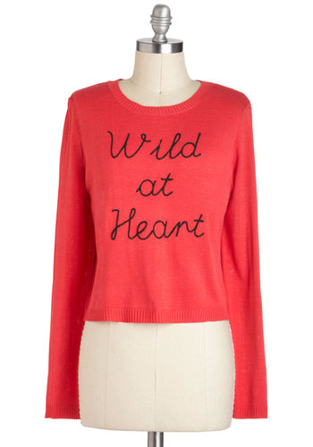 Wild Open Spaces Sweater - Short, Red, Black, Casual, Long Sleeve, International Designer, Coral