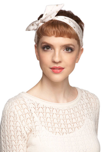 Through the Wire Headband in Bows - Cream, Gold, Print, Pinup, Travel, Summer, Gals, Under $20