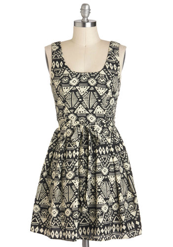 Artifacts of Life Dress - Black, White, Print, Casual, Safari, Sleeveless, Short, Belted, Scoop