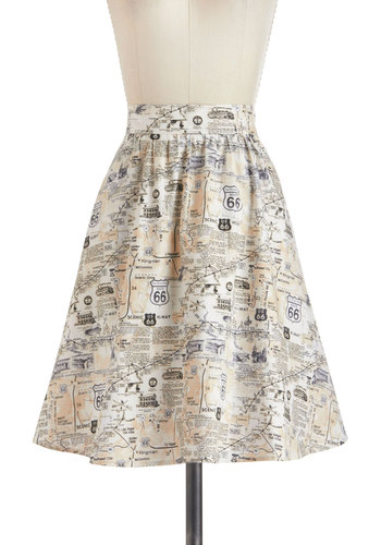 Back to Your Routes Skirt - A-line, Cotton, Mid-length, Daytime Party, Tis the Season Sale, Novelty Print, Travel, Exclusives, Multi, Multi