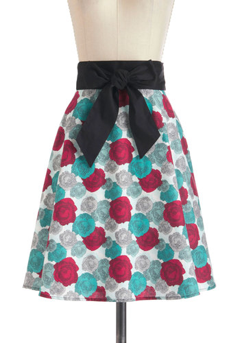 Garden Glory Skirt - Red, Blue, A-line, Mid-length, White, Bows, Daytime Party, Tis the Season Sale