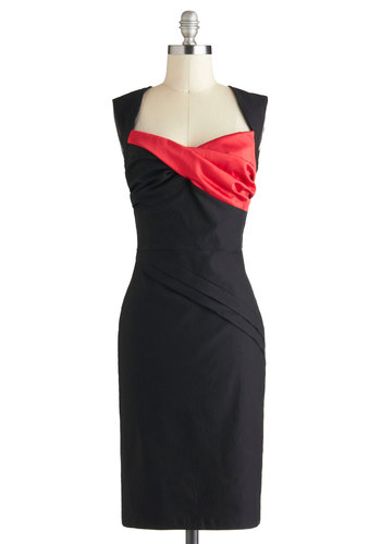 Dynamic Dame Dress - Long, Black, Red, Sheath / Shift, Cap Sleeves, Sweetheart, Party, Cocktail, Holiday Party, Pinup, Vintage Inspired, Tis the Season Sale, 60s, Special Occasion, Solid, Variation