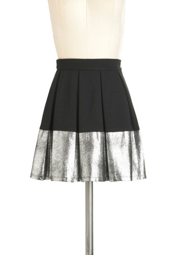 No Place Like Chrome Skirt - Black, Silver, Pleats, A-line, Glitter, Party, Girls Night Out, Holiday Party, Short, Tis the Season Sale