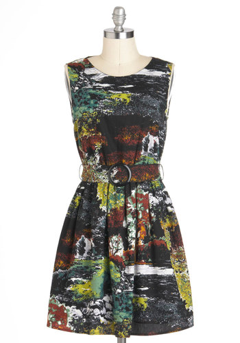 Reading by the Riverbank Dress in Moss - Cotton, Short, Multi, Yellow, Brown, Black, Grey, Print, Cutout, Belted, Casual, A-line, Sleeveless, Tis the Season Sale, Variation