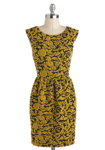 Give It Your Wallflower Dress - Short, Yellow, Black, Print, Exposed zipper, Cocktail, A-line, Cap Sleeves, Fall, Party, Film Noir, Vintage Inspired, Luxe, Tis the Season Sale