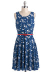 What Friends Are Fleur Dress - Blue, White, Floral, Belted, A-line, Sleeveless, Mid-length, Daytime Party, Spring