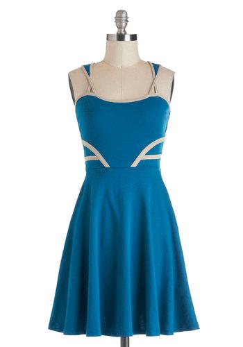 Fountain Abbey Dress - Cotton, Short, Blue, Cutout, Casual, Nautical, A-line, Tis the Season Sale
