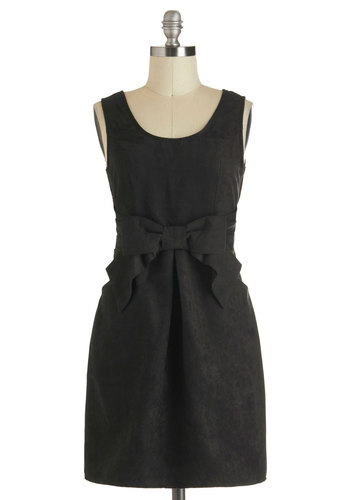 Alluring Evening Dress - Short, Black, Solid, Bows, Pockets, Party, Shift, Sleeveless, Tis the Season Sale, Holiday Party