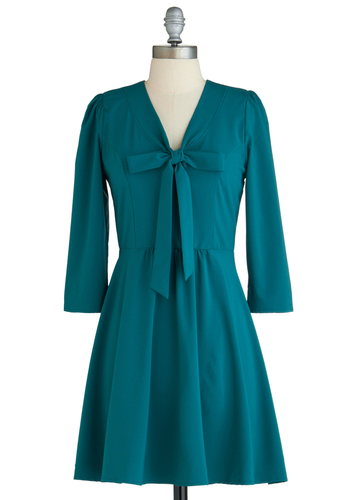 Some Green In The Way She Moves Dress - Short, Green, Solid, Tie Neck, Work, A-line, 3/4 Sleeve, Fall, Exclusives