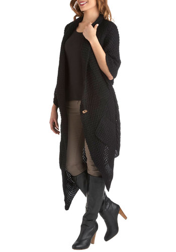 Blanket Statement Cardigan in Coal - Holiday Sale, Black, Casual, Boho, Fall, Rustic