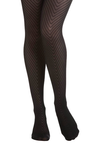 Donning Chevron Tights - Black, Sheer, Print, Chevron, Knit