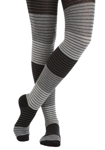 Shades of Graphite Tights - Black, Grey, White, Stripes, Casual, 90s