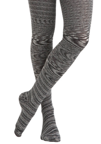 Good Ol' Gaze Tights in Greyscale - White, Print, Grey, Rustic, Variation