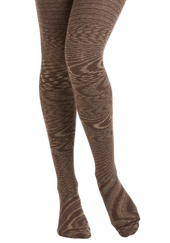 Good Ol' Gaze Tights in Sepia - Brown, Tan / Cream, Print, Rustic, Variation