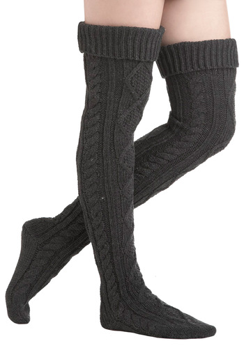 Listen to Your Hearth Socks - Grey, Solid, Knitted, Winter