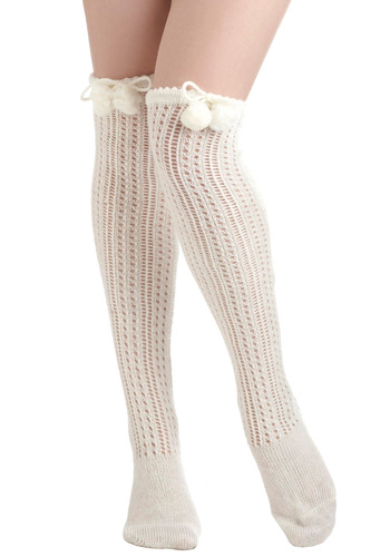 Toasty Marshmallow Socks - Cream, Solid, Poms, Crochet, Knitted