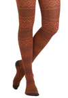 Autumn-atic Style Tights - Orange, Print, Casual, Fall