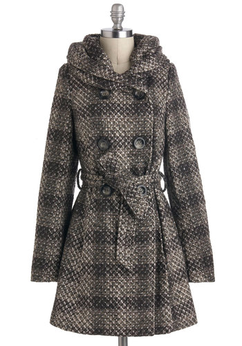 Late Night Latte Coat - Long, Multi, Brown, Black, Grey, Plaid, Buttons, Hoodie, Double Breasted, Long Sleeve, Fall, 3, Pockets, Belted