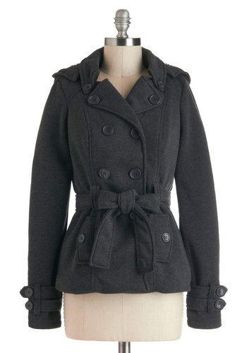Serendipitous Encounter Jacket - Grey, Solid, Buttons, Pockets, Casual, Long Sleeve, Belted, Mid-length, 2