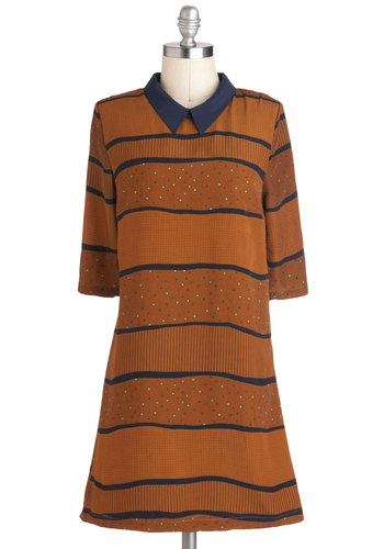 Dusk Till Tawny Dress by Louche - Mid-length, Brown, Blue, Stripes, Casual, Vintage Inspired, Shift, 3/4 Sleeve, Fall, Collared, International Designer