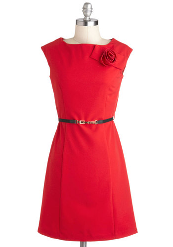 Coquette in Rosette Dress - Red, Solid, Flower, Sheath / Shift, Sleeveless, Mid-length, Belted, Party, Work, Vintage Inspired