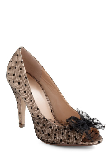 Chiaroscuro Allure Heel - Tan, Black, Polka Dots, Bows, Mid, Peep Toe, Wedding, Variation, Special Occasion