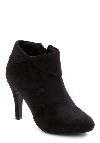 As You Ladylike It Bootie - Black, Solid, Buttons, 60s, Mod, Mid
