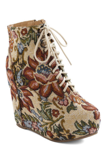 True to Platform Bootie in Tapestry - Tan, Multi, Floral, High, Platform, Wedge, Lace Up, French / Victorian