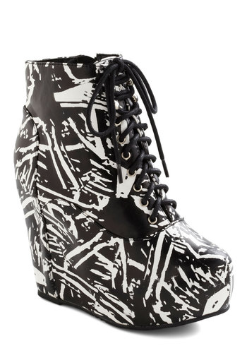 True to Platform Bootie in Abstract Art - White, Print, High, Platform, Wedge, Lace Up, Faux Leather, Black