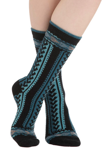 Lakeside Cabin Socks - Blue, Print, Black, Rustic