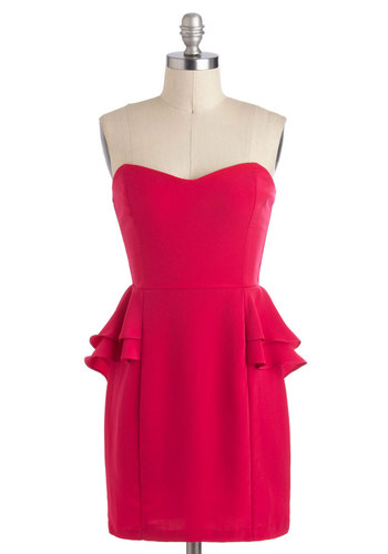 Fuchsia Fabulous Dress - Short, Pink, Solid, Exposed zipper, Party, Peplum, Strapless, Sweetheart, Cocktail, Girls Night Out