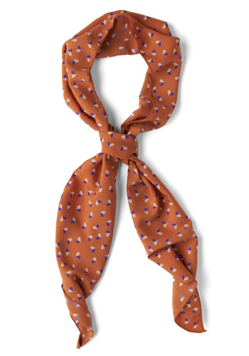 Hearts of a Whole Scarf - Tan, Multi, Print, Work, Casual