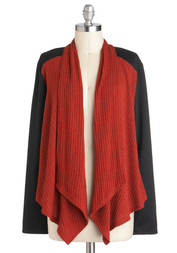Thanks a Vermillion Cardigan - Mid-length, Solid, Casual, Long Sleeve, Red, Black