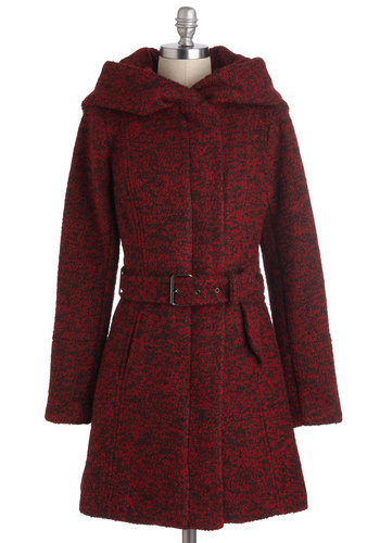 Pastry Date Coat in Apple - 4, Red, Black, Pockets, Hoodie, Long Sleeve, Winter, Belted, Rustic, Long