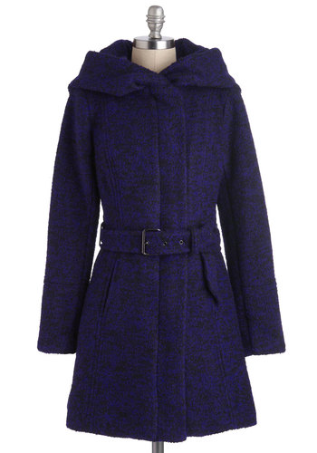 Pastry Date Coat in Blueberry - Long, 4, Blue, Solid, Hoodie, Long Sleeve, Winter, Pockets, Belted