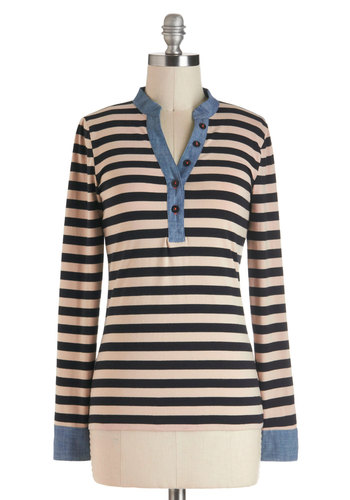 The Perfect Pair-allel Top - Cotton, Multi, Blue, Tan / Cream, Black, Stripes, Buttons, Casual, Long Sleeve, Menswear Inspired, Mid-length